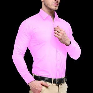 Men Baby Pink Slim Fit Formal Shirt